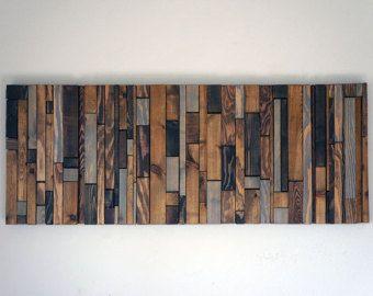 Arte de pared de madera de Chevron por RusticWarmthDecor en Etsy