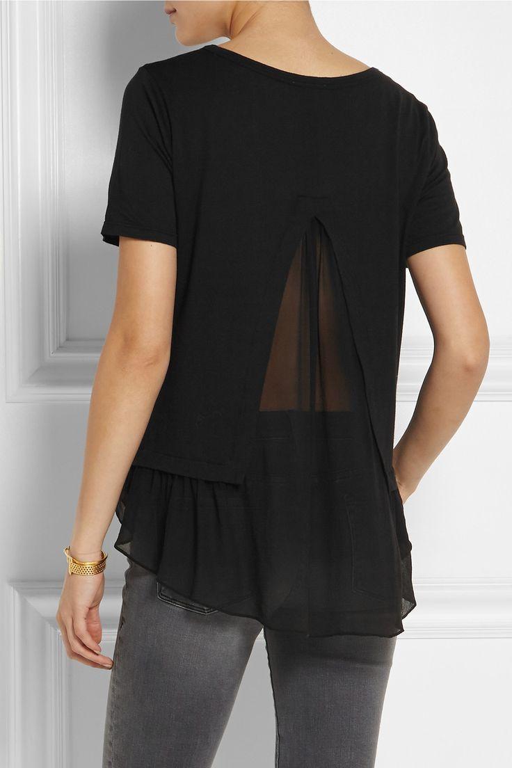 CLU | Jersey-T-Shirt mit einem Detail aus Chiffon-Seide | NET-A-PORTER.COM