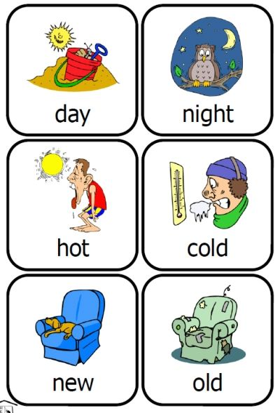 24 pair of opposites that small kids will recognize — 48 cards just right for small hands!   What is the opposite of… day? hot? new? slow?   How about playing around wi…