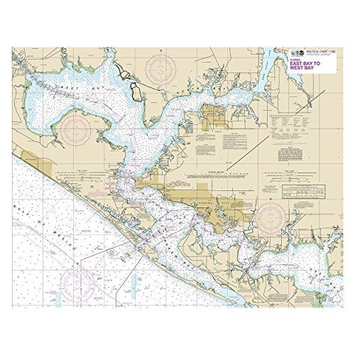 IntraCoastal Waterway East Bay to West Bay, Florida Nautical Chart printed on sailcloth for home décor wall art print. Unique Textile Printing http://www.amazon.com/dp/B00XK097MO/ref=cm_sw_r_pi_dp_iT8nwb0C1Y8AQ