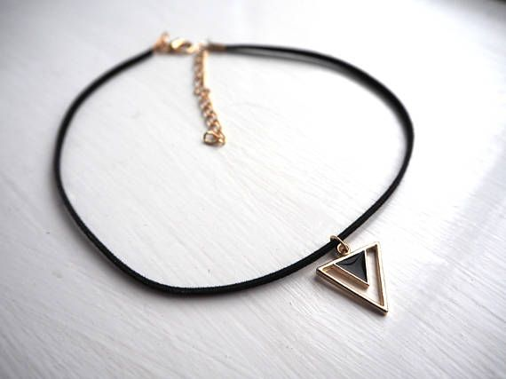 Black and Gold Triangle Thin Suede Cord Choker. Shop here: https://www.etsy.com/uk/shop/DontChoke #chokers #necklace #jewellery #jewelry #suede #velvet #black  #cord #style #stylish #fashion #fashionable #trend #charm #handmade #silver #triangle #shape #shapes #geometric #gold