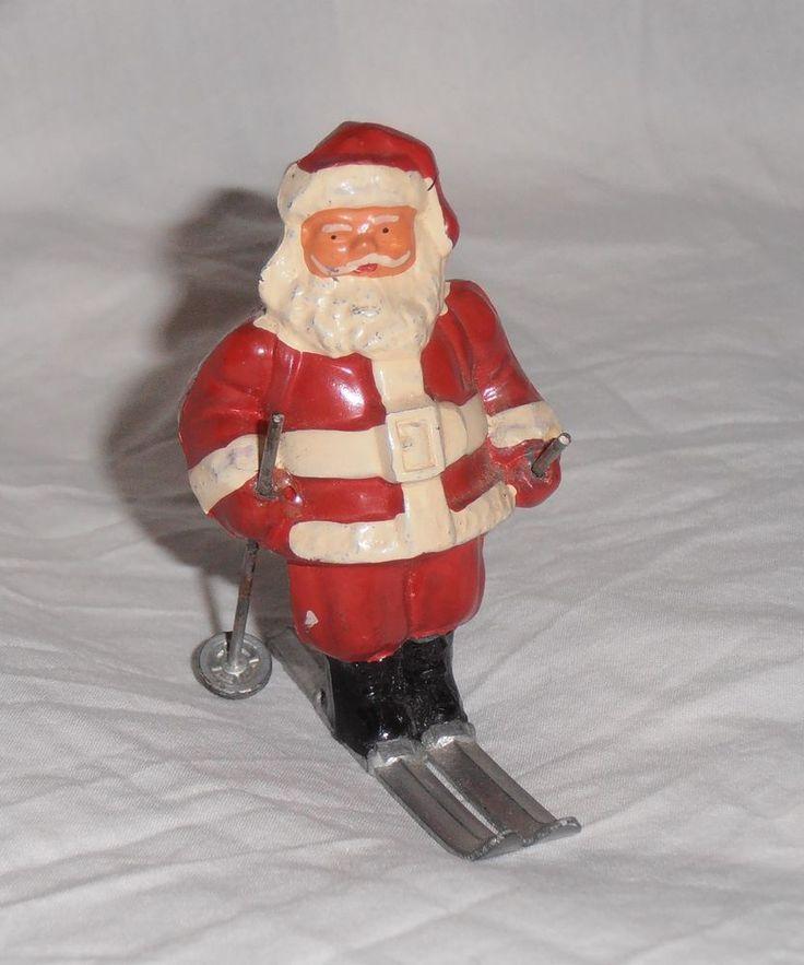 "RARE Vintage BARCLAY Lead Skiing Santa Claus on Skis figure 3"""
