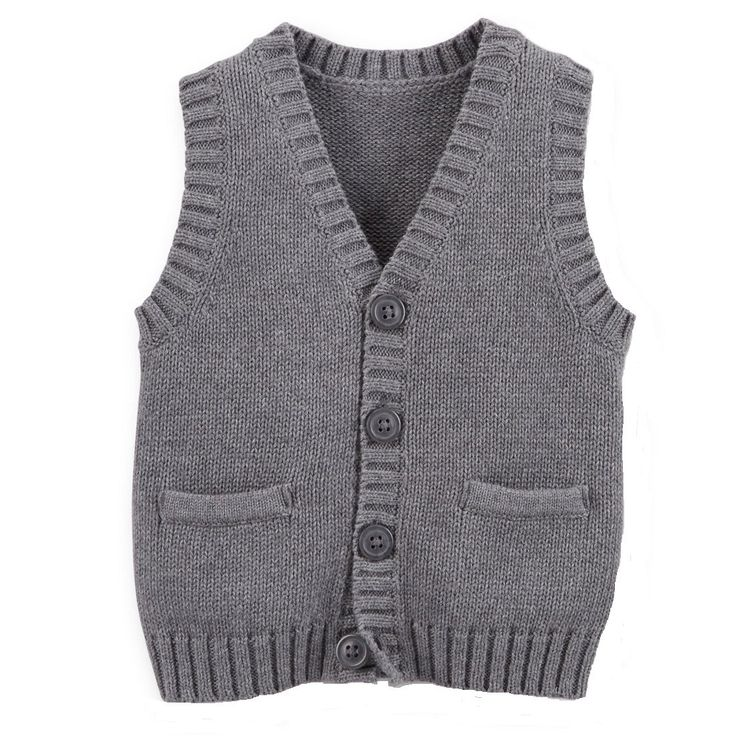 Carter's Baby-boys' Cotton Knit Sweater Vest with Pockets Heather Grey (24 Months)