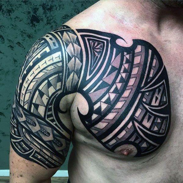 75 Tribal Arm Tattoos For Men Interwoven Line Design Ideas Tribal Arm Tattoos For Men Tribal Tattoos Arm Sleeve Tattoos