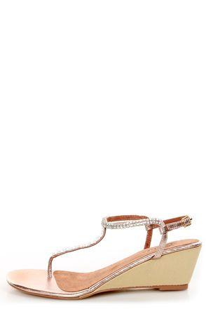 LuLu's Very Volatile Very Volatile Jive Rose Gold Rhinestone Wedge Thong Sandals.  $65.00