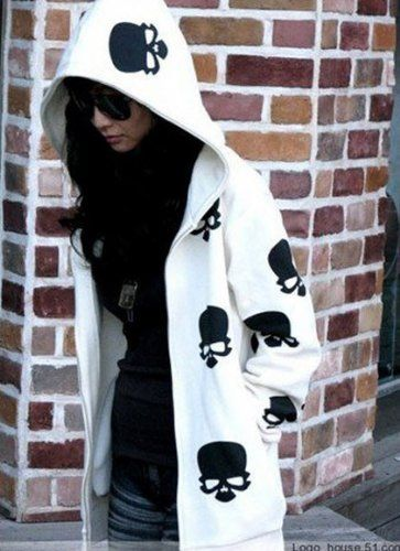 Hoodies Women , Girl : Fashion Hoodies Women Fashion Skull Heads Hoodies,Lady Zip Up Coat /Jacket,Black White Hot Sweater for Autumn : White ps.easyshop,http://www.amazon.com/dp/B00EXREU20/ref=cm_sw_r_pi_dp_ApTVsb07R2SHQZJF
