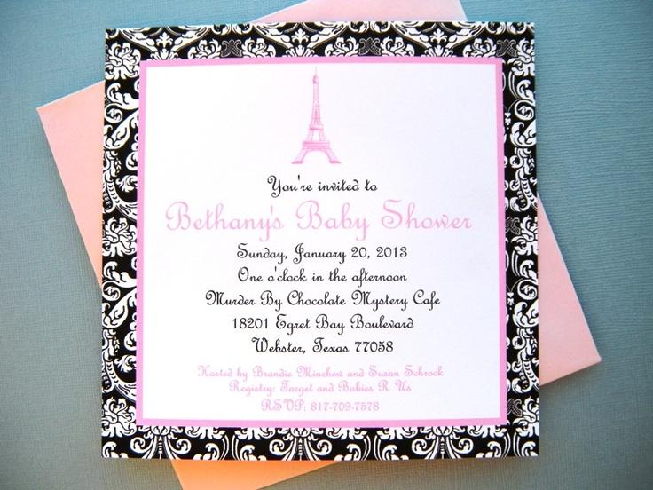 Paris Themed Baby Shower Invitation   Www.weddingsbysusan.etsy.com
