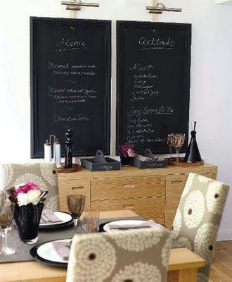 chalkboards: Dining Rooms, Dining Area, Kitchens Wall, Chalkboards Menus, Chalkboards Paintings, Chalkboard Paint, The Cities, Fun Ideas, Little Green Notebooks