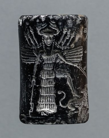 Akkadian Cylinder Seal With A Rare Goddess, 2254-2193 BC  This black stone seal is either from the reign of Naram-Sin of Akkad, under whom the Akkadian Empire reached its zenith or from the reign of Shar-Kali-Sharri, who was the last powerful king of the Akkad Dynasty.