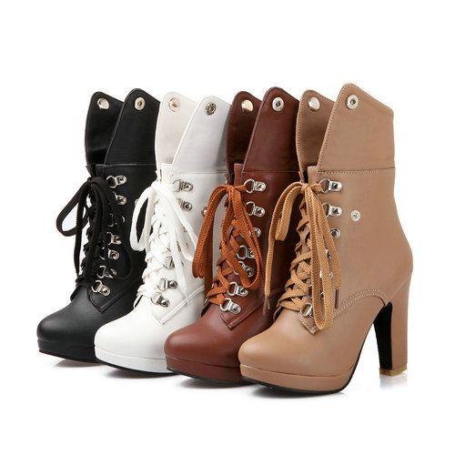 Nova chegada 2014 outono inverno moda botas de salto alto tornozelo para as mulheres rendas até sapatos de neve de inverno plataforma Motrocycle botas em Botas de Sapatos no AliExpress.com | Alibaba Group