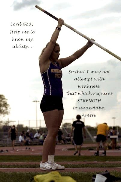 Pole Vault requires a perfect lift. Keep your arms up to give you that lift off of the runway!