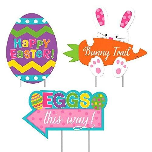 """Easter Sidewalk Corrugate Plastic Signs Party Outdoor Decorations (3 Pieces), Multi Color, 15.3"""" x 9.5"""" (Package Size)."""