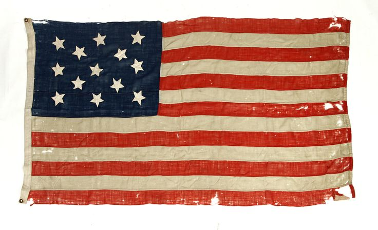 """Garth's Auctions, Inc. - Auctioneers & Appraisers :    Sold for $1,875 THIRTEEN-STAR UNITED STATES FLAG.   Second half-19th century and probably used as a Naval standard in the Civil War, wool bunting and cotton stars. Thirteen stars irregular machine stitching to both sides of canton, irregular machine sewn stripes have loss due to use. Cotton twill hoist with two brass grommets. 46.5"""" x 84""""."""