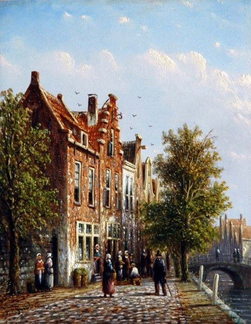 Johannes Franciscus Spohler (Rotterdam 1853-1894 Amsterdam) Figures in a sunlit Dutch town - Dutch Art Gallery Simonis and Buunk Ede, Netherlands.