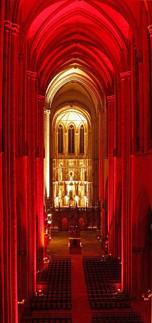 inside Magdeburg Cathedral illuminated for the yearly event called 'night of the lights'  Germany