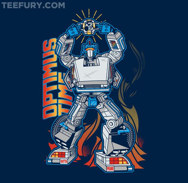 Optimus Time - Transformers and Back to the Future mashup. Today's shirt at TeeFuryGeek T Shirts, Geek Stuff, Teefury T Shirts, Future Optimus, Time Shirts, Optimus Time, T Shirts Design, Nerd Awesome, Optimus Prime