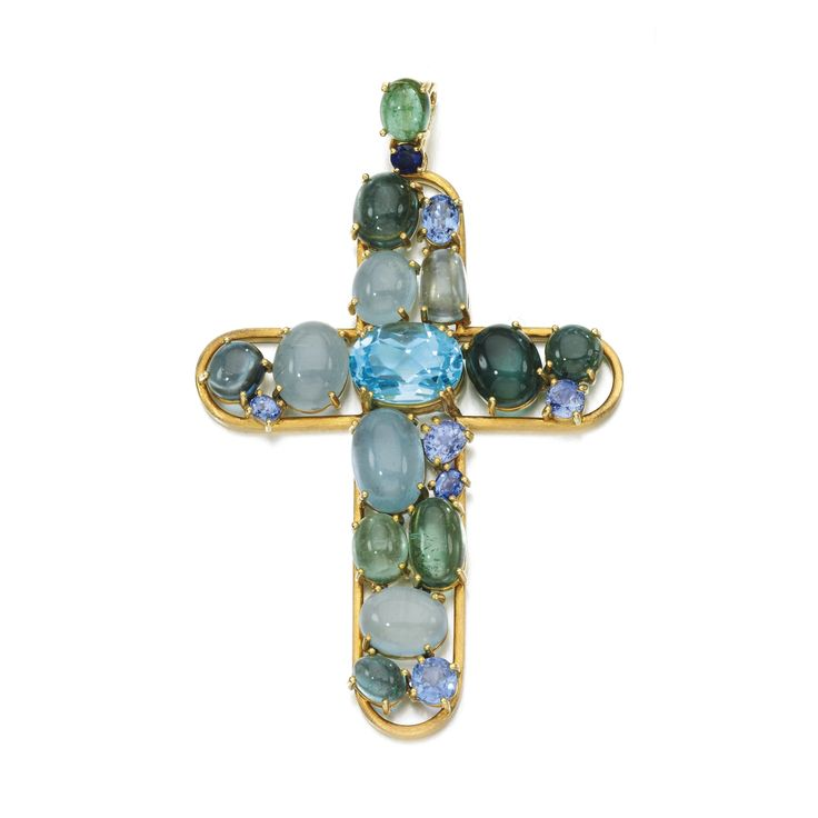 Gem set pendant The pendant of Latin cross design set with various polished and faceted gemstones including beryls, sapphires and blue topaz, to a textured foxtail link necklace, length approximately 695mm, maker's marks, part illustrated.