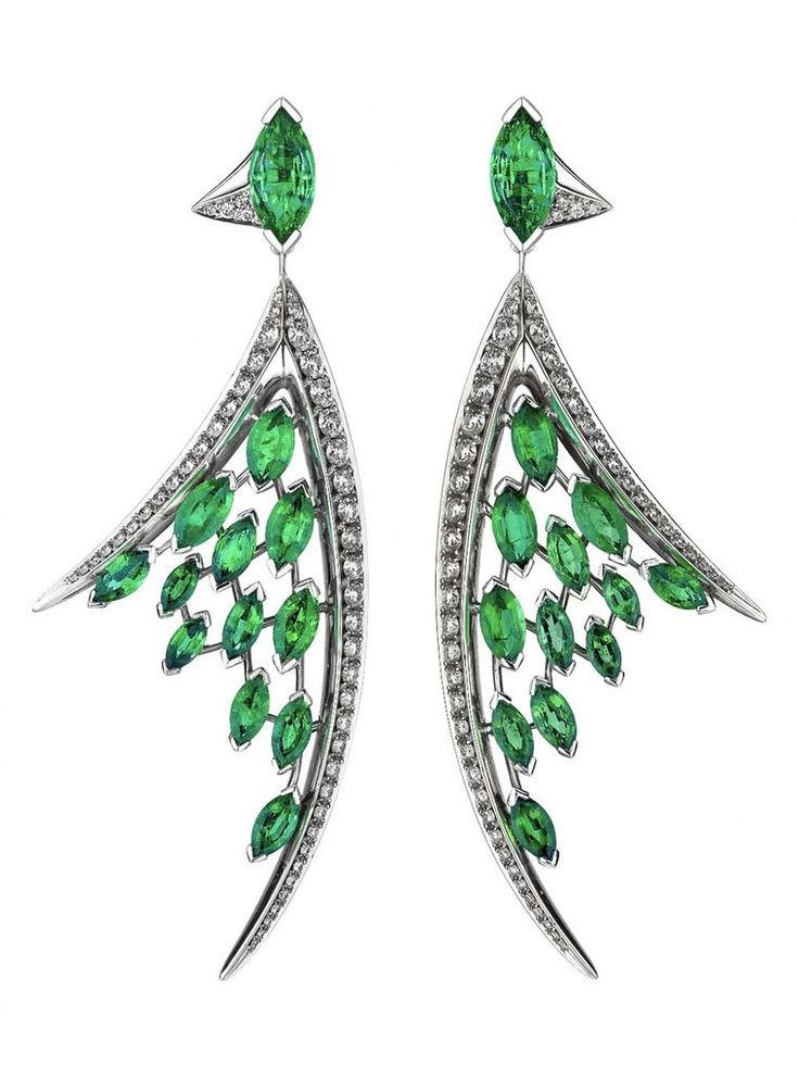 Shaun Leane white diamond and marquise-cut emerald earrings, from the Aerial collection. See more from the rise of the African emerald compared to the more famous Colombian emerald: http://www.thejewelleryeditor.com/jewellery/african-emeralds-emerald-jewellery/ #jewelry #green