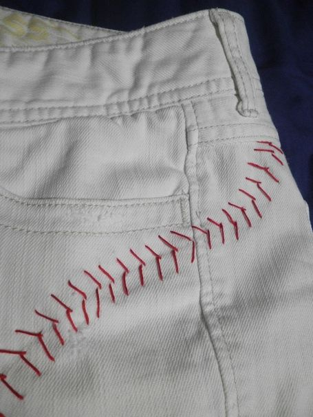 BASEBALL SHORTS! Need to do this before next summer!!! and you could get brown pants and put football seams on them!!