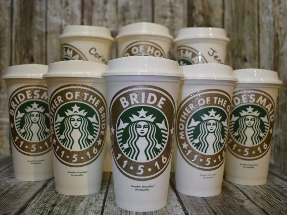 Bridesmaid Gifts Starbucks Coffee Cup by CleverHollyDesigns