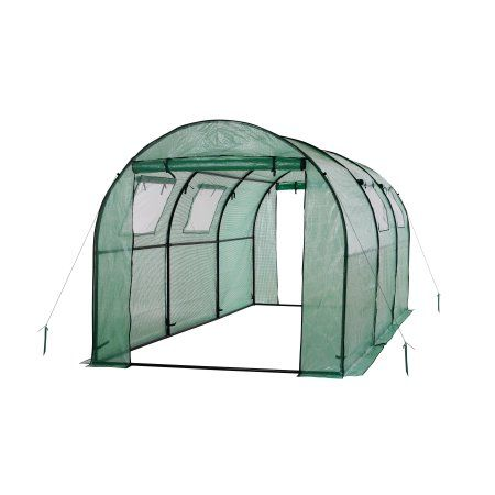 Ogrow Two Door Walk-In Tunnel Greenhouse With Ventilation Windows And Steel Frame - 15' X 6' X 6' - Green