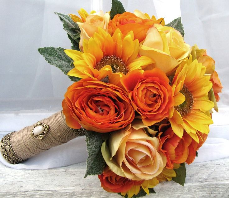 Silk Bridal Wedding Bouquet Sunflowers Yellow Roses Orange