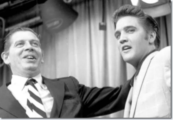 """June 5, 1956 – Elvis Presley introduces his new single, """"Hound Dog"""", on The Milton Berle Show."""
