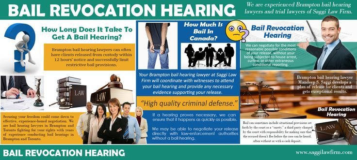 Click this site http://twitter.com/BramptonLawyers for more information on Bail Revocation Hearing. The bail revocation hearing is one of the most important parts because you will be seeing a judge. Follow us http://www.smallbizpages.ca/free-business-directory/14587/saggi-law-firm/