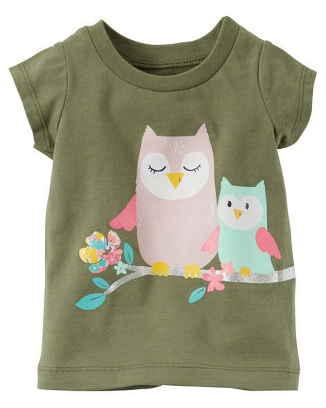 Baby Girl Glitter Owl Graphic Tee from Carters.com. Shop clothing & accessories from a trusted name in kids, toddlers, and baby clothes.