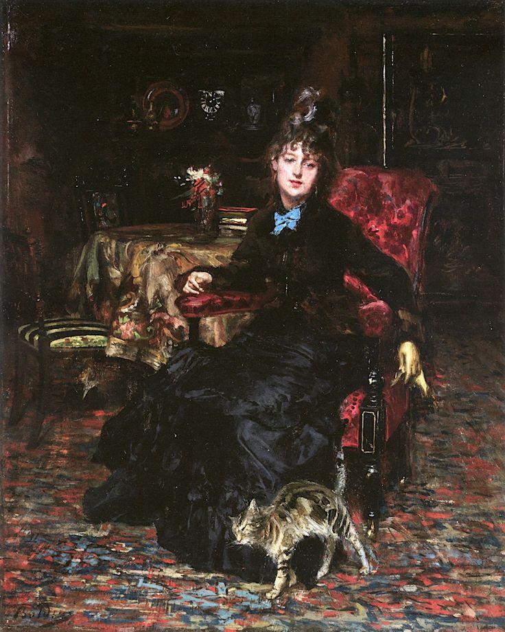 Καθήμενη γυναίκα με γάτα (1871)