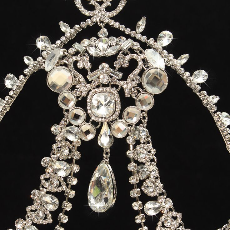 Diamond Sparkling Crystal Rhinestone Hair Chain King Queen Tiara Wedding Party Headpiece