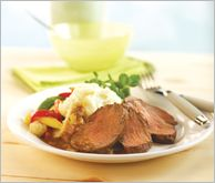 Chateaubriand with Herbed Onion Gravy - Chateaubriand – elegant and easy! Tender slices of prime filet paired up with this rich brown Herbed Onion Gravy or classic Bearnaise or Green Peppercorn Roast Gravy sauce mixes.