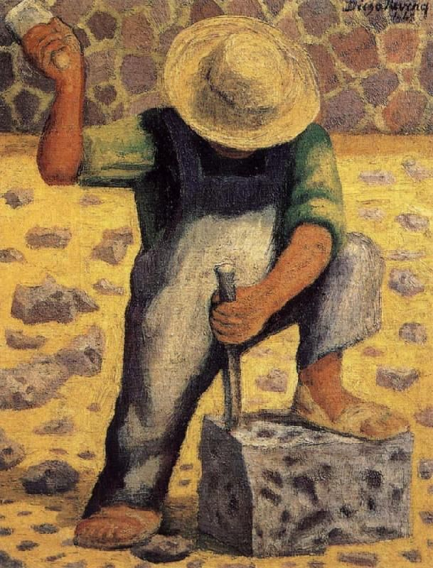 Diego rivera paintings stone worker small spaces for Diego rivera mural paintings