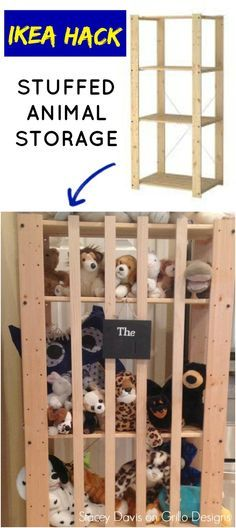 Stacey Davis shares a quick and easy way to store childrens soft toys! All you need is an IKEA GORM shelf!