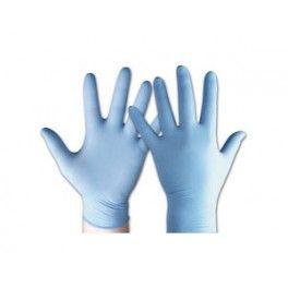 Guantes nitrilo desechables Caja de guantes de nitrilo desechables de 100 unidades. Tres veces más resistentes al punzonamiento y a los productos químicos que los guantes de látex o de vinilo Material: 100% Nitrilo Color: Azul Tallas: S, M, P, L