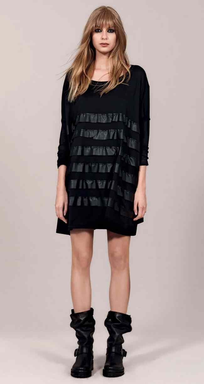 Black Minidress With long Bangs Hairstyles and pair of boots