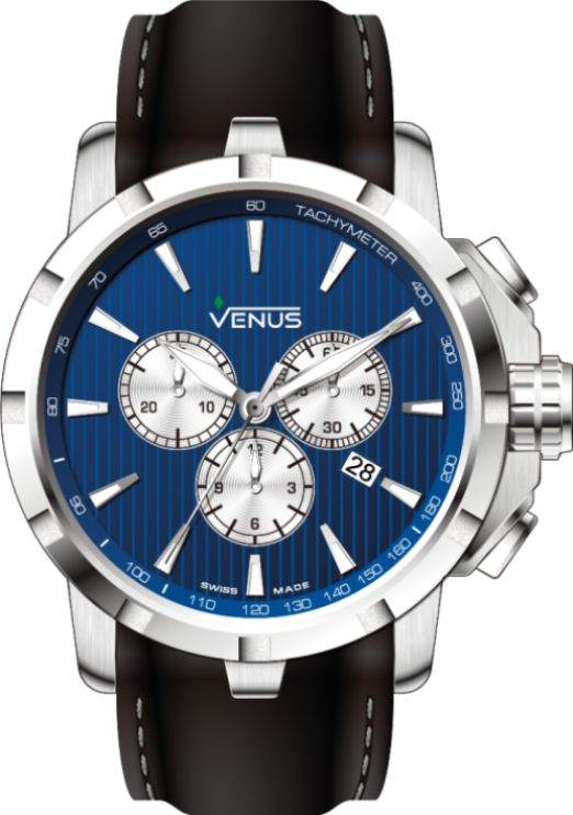 Quartz Chronograph 44mm by GENESIS Collection 2016 The GENESIS collection constantly evolves and follows the trend. What could be admired more than the beauty of this electric blue punctuated by radiant white touches? Time is so precious in any dynamic life! This watch confers it an unique mastery.