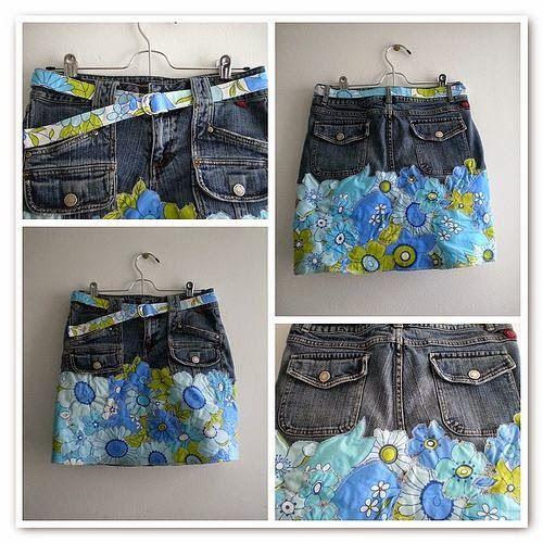Recicle os jeans fazendo peças únicas e lindas. Compre tecido a seu gosto e corte os jeans pelo gancho. Faça a bainha no tecido e costure. Quando publico a
