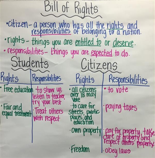 rights and responsibilities anchor chart - Google Search More