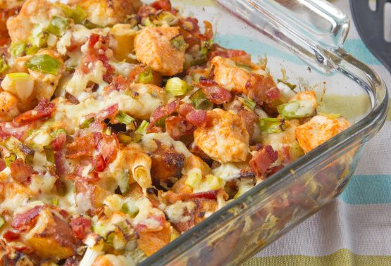 Loaded Potato And Buffalo Chicken Casserole Recipe - Food.com Ridiculously fattening but good for brunch or take to a party