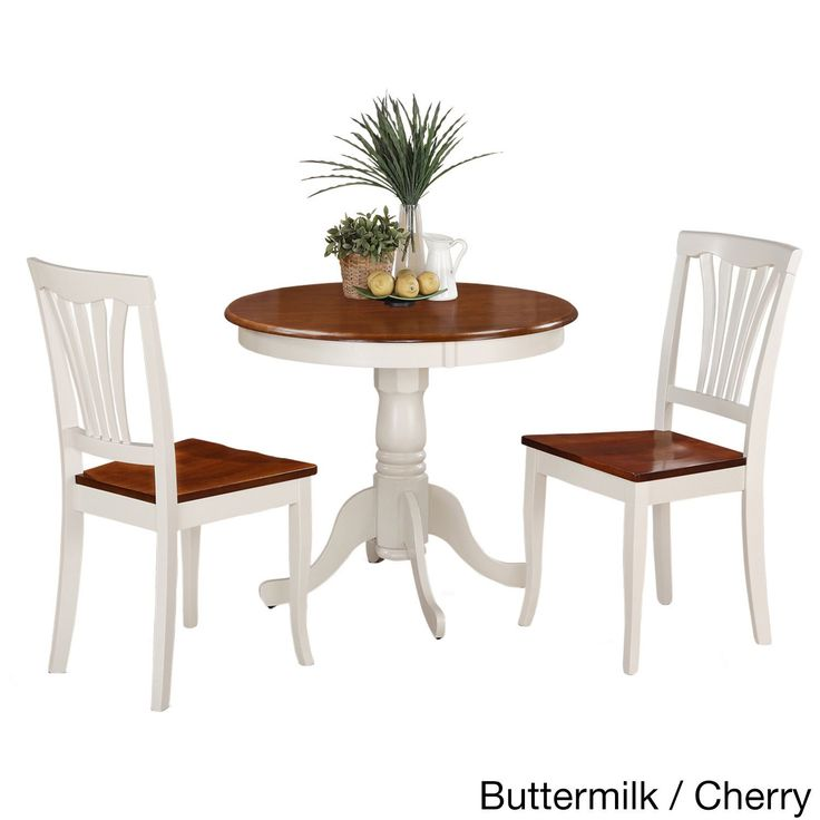 3-Piece Kitchen Nook Dining Set-Small Kitchen Table and 2 Kitchen Chairs (Buttermilk and Cherry), White, Size 3-Piece Sets