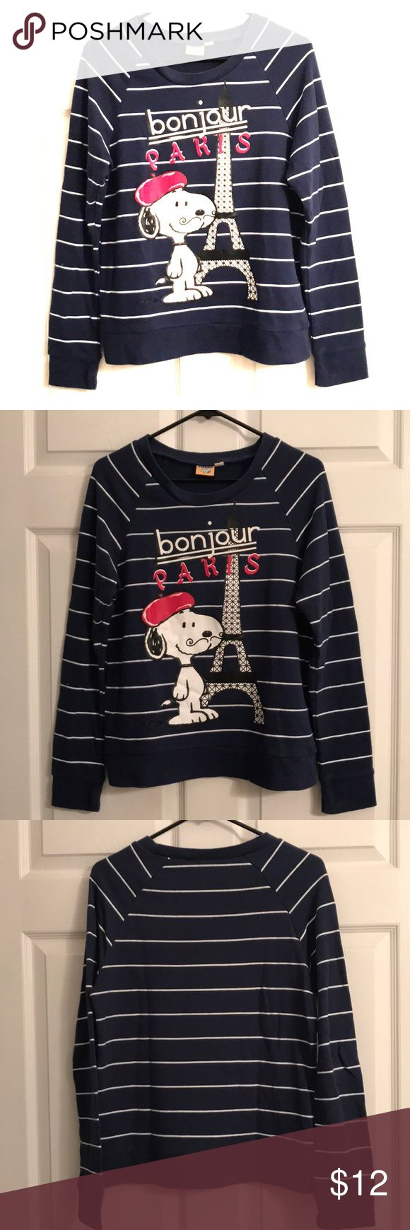 """Snoopy """"Bonjour Paris"""" Sweatshirt C'est la vie! Snoopy lovers and Francophiles alike need this super cute and comfy sweatshirt. Lightweight terry material on the inside. Only worn a few times. 🐾 Peanuts Tops Sweatshirts & Hoodies"""