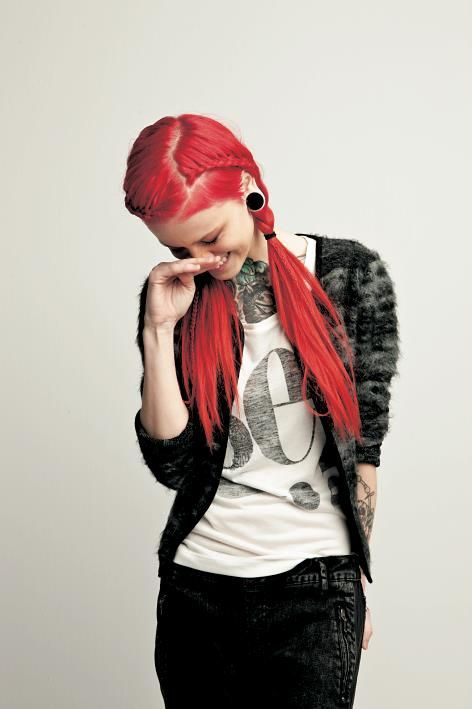 Cool way to hide an undercut/sidecut - with braids.hair with lace braid accent and pigtails