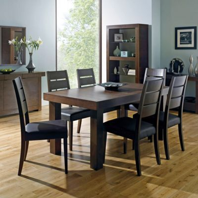 Walnut Akita Medium Extending Table Four Slatted Chairs At Debenhams