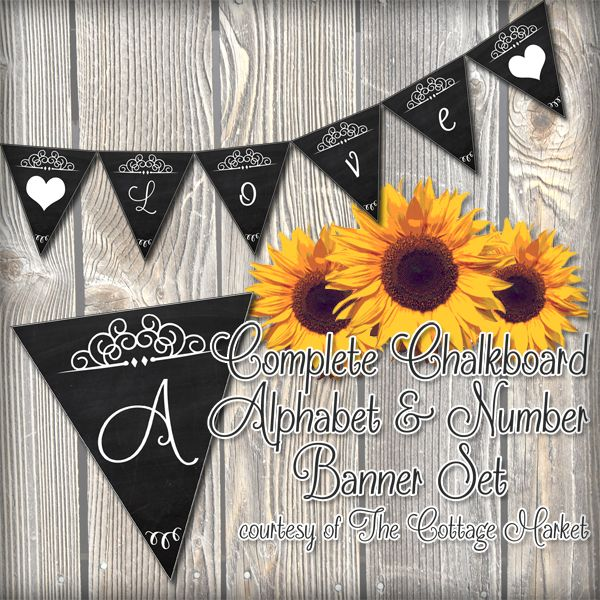 Free Printable - Whole Alphabet Chalkboard Banner Upper & Lower Case Plus Numbers and more - The Cottage Market