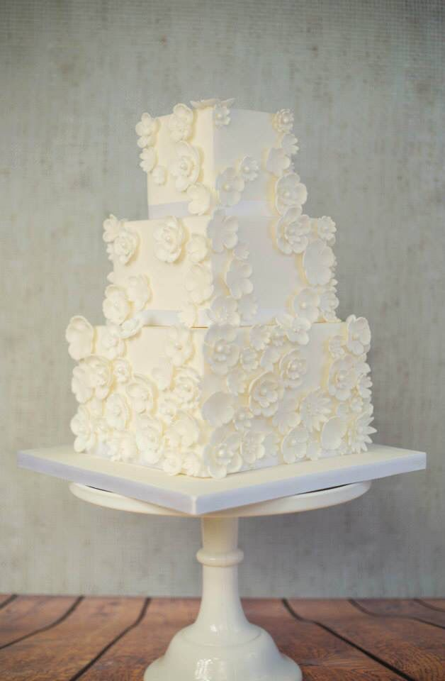 shabby chic bridal shower cakes%0A White flower square tiered wedding cake
