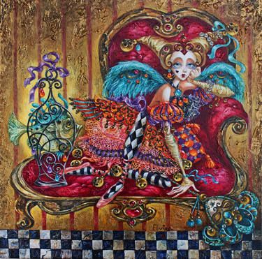 "Artist Elvira Baranova; Painting, ""Dreaming of Venice""."