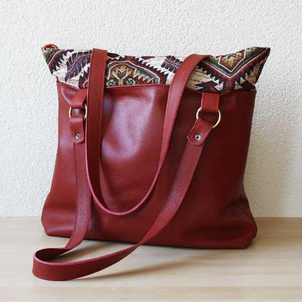 Upcycled leather, handmade bag. OOAK bag. This used to be a red leather sofa!