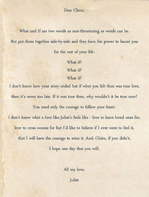 Sophie's letter to Claire... I cried during this whole scene!