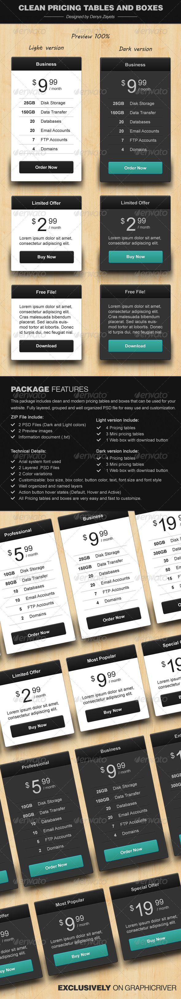 Clean Pricing Tables and Boxes  http://graphicriver.net/item/clean-pricing-tables-and-boxes/3722138?ref=rasko